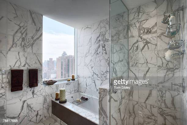 marble clad bathroom - sibley stock photos and pictures
