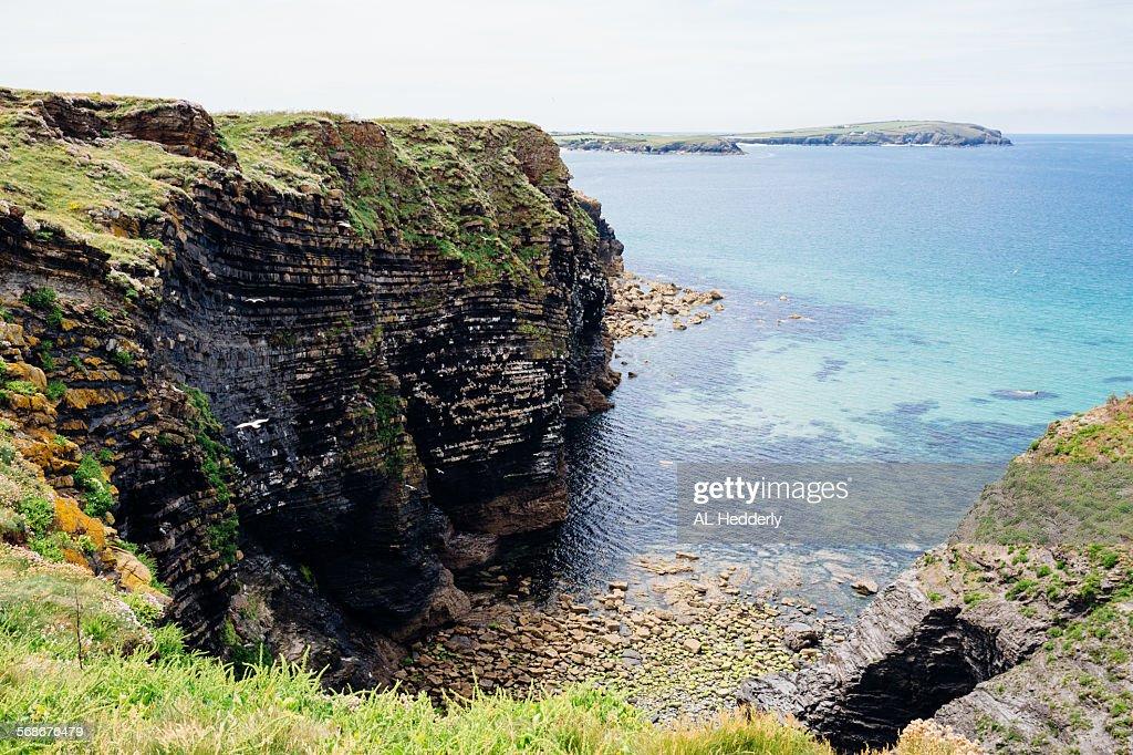 Marble Cliff near Trevone Bay, Cornwall : Stock Photo