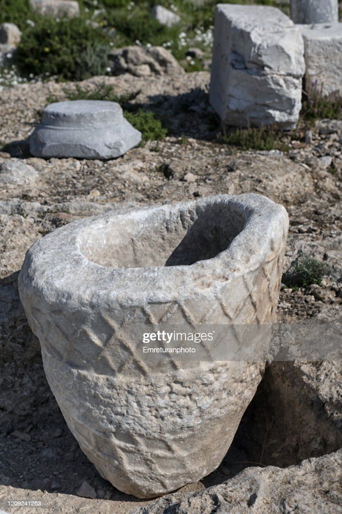 Marble container at Knidos excavation site, Datca peninsula. : Stock Photo