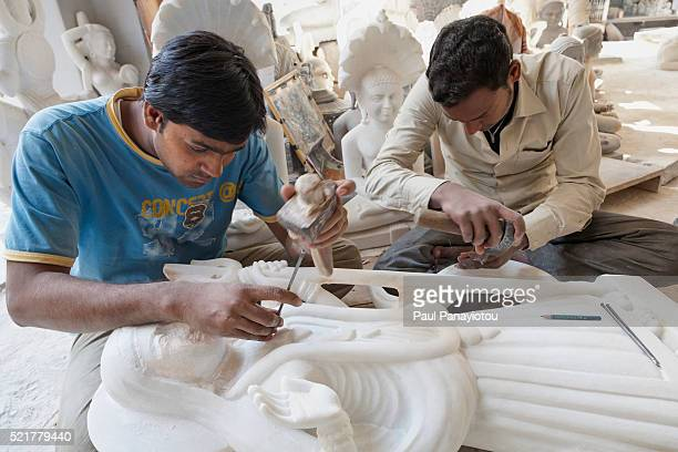 Marble craftsman at work in the bazaar, Jaipur, India