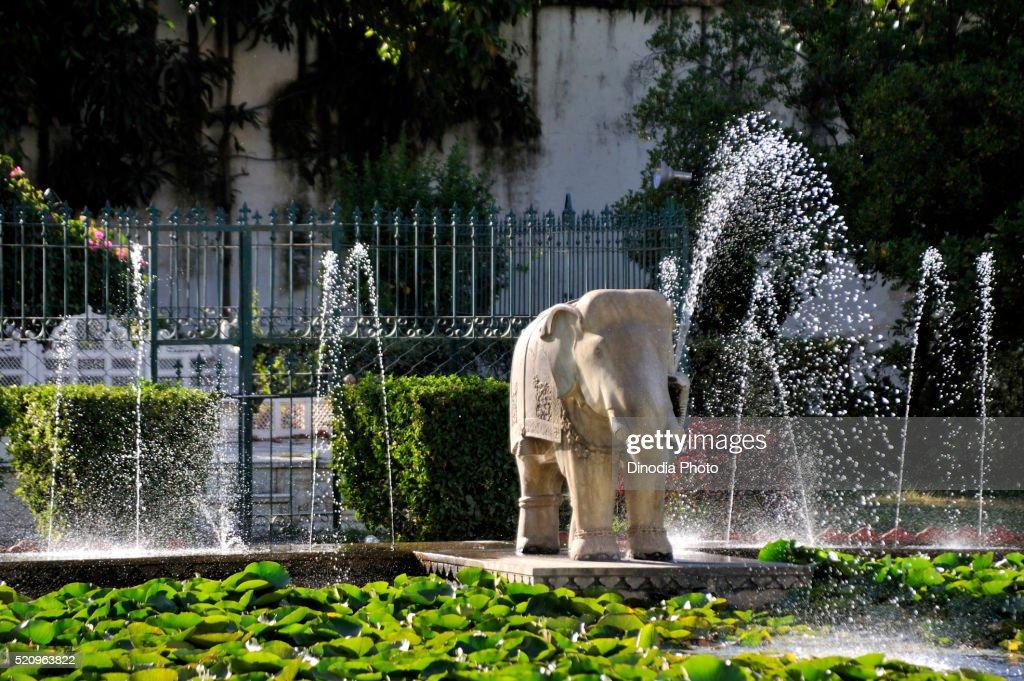 Marble Elephant At Saheliyon Ki Bari Garden In Udaipur At Rajasthan, India,  Asia :