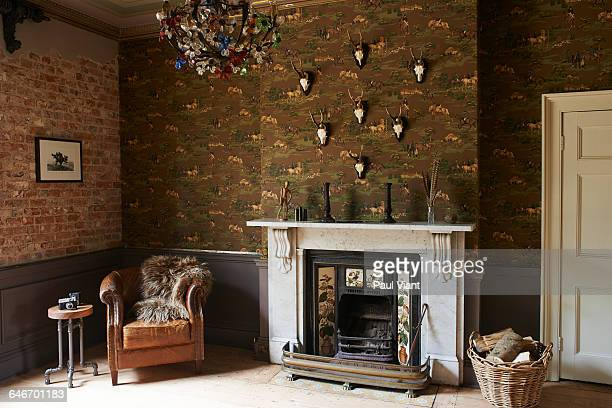 Marble fireplace in eclectic drawing room