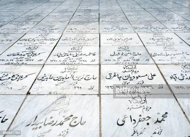 Marble graves at Mashhad cemetery, Iran