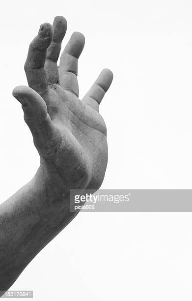 marble hand designed by bernini at piazza navona - sculptuur stockfoto's en -beelden