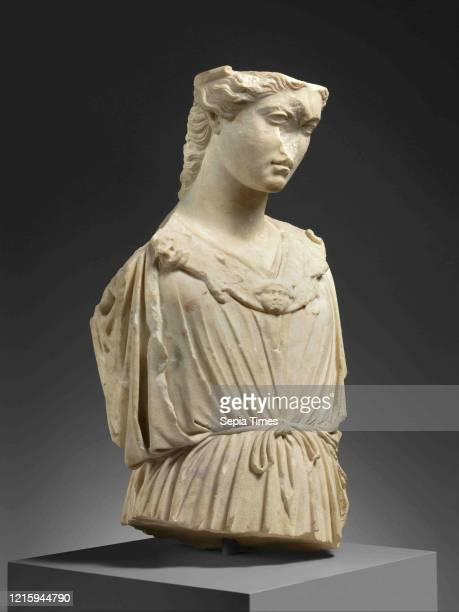 Marble head and torso of Athena, Imperial, 1st-2nd century A.D., Roman, Marble, Pentelic, Overall: 26 1/2 x 12 3/4 x 11 5/8 in. , Stone Sculpture,...