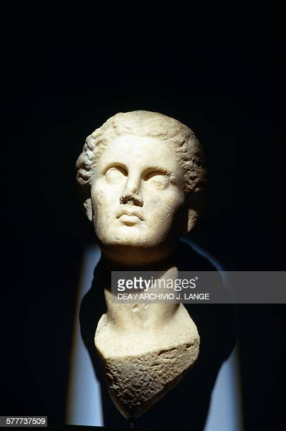 Marble head discovered in 2003 during construction of the Syntagma Square Metro station Athens Greece Greek civilisation 3rd century BC Athens...