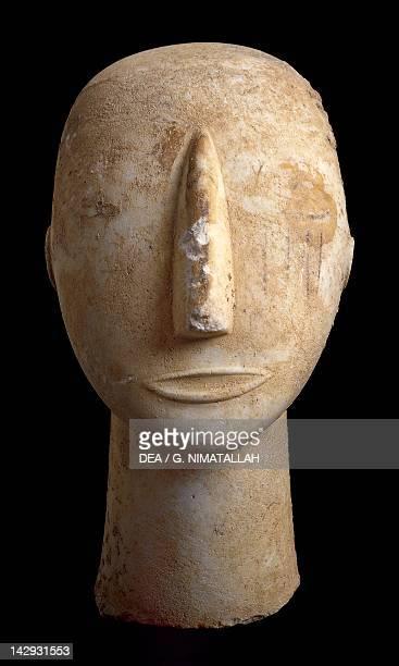 Marble head from Amorgos Greece Cycladic culture 3rd millenium BC Athens Ethnikó Arheologikó Moussío