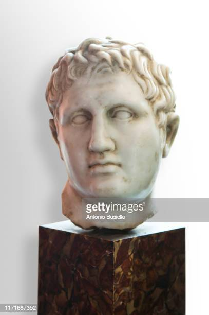 marble head of julius caesar in naples metro station - male likeness stock pictures, royalty-free photos & images