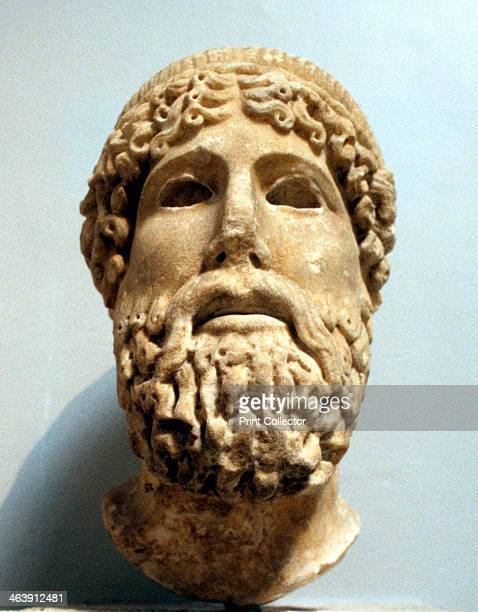 Marble head probably of the Ancient Greek god Zeus