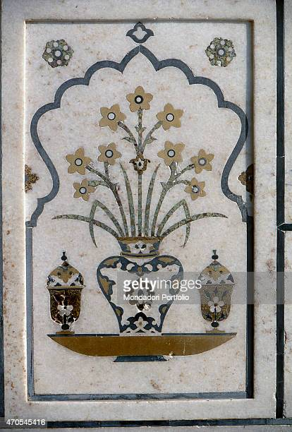 'Marble inlay by Mughal craftsmen 16221628 17th Century gemstone inlay on marble India Agra Whole artwork view A inlaid stone work into the...