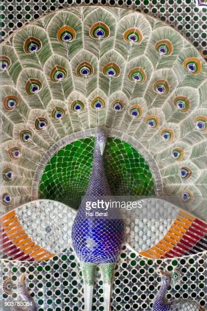 Marble inlay peacock in Udaipur City Palace