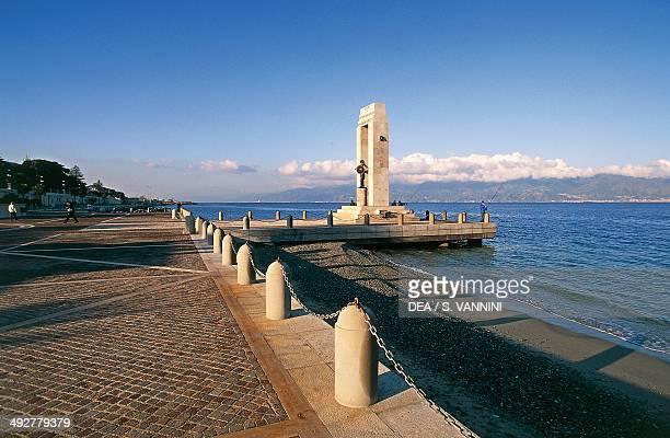 Marble memorial monument to Vittorio Emanuele III by Camillo Autore with the Promachos Athena statue with the Strait of Messina in the background...