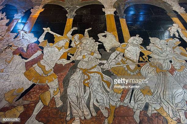Marble mosaic floors dating from the 14th 16th centuries in the Siena Cathedral di Santa Maria better known as the Duomo in Siena Tuscany Italy