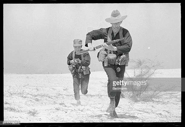 Marble Mountain Vietnam Chinese Nungs members of the Australian Mike Forces who are trained by the Australian Special Forces are shown on patrol with...