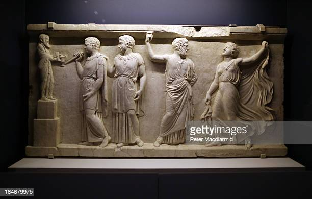 A marble panel depicting Satyrs and Maenad is shown at the Life And Death In Pompeii And Herculaneum exhibition at The British Museum on March 26...