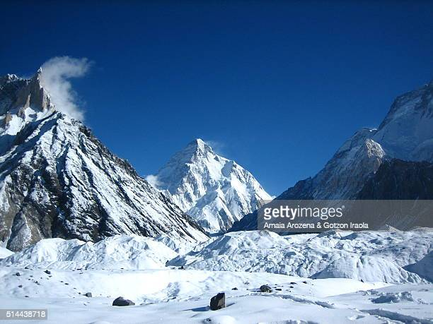 marble peak and k2 mountain from concordia camp site in karakorum range - k2 mountain stock pictures, royalty-free photos & images