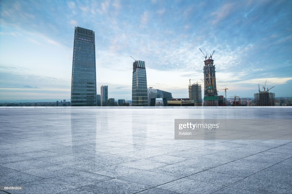 marble platform with modern skyscraper as background in Beijing CBD area : Stock Photo
