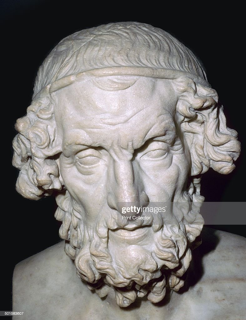 Marble portrait bust of Homer, Roman, from Baiae, Campania, Italy, 1st-2nd century. : News Photo