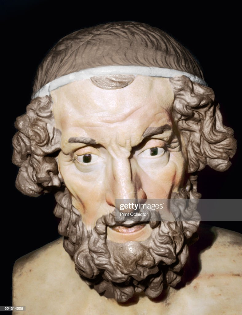 Marble Portrait Bust Of Homer, Roman, From Baiae, Campania, Italy, 1St-2Nd Century : News Photo