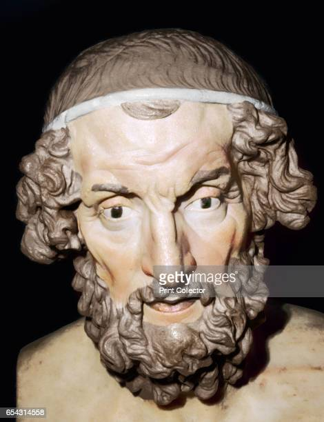 Marble portrait bust of Homer Roman from Baiae Campania Italy 1st2nd century The blind poet Homer is thought to have lived in Greece around 750 to...