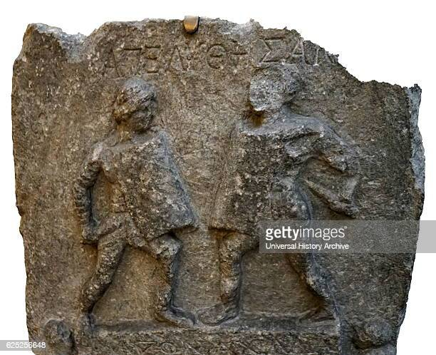 Marble relief depicting two female gladiators Amazon and Achilia from Halicarnassus Dated 1st Century