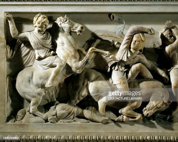 Marble sarcophagus of Alexander ca 310 BC from Sidon Lebanon Detail showing Alexander on horseback fighting the Persians Greek civilization 4th...