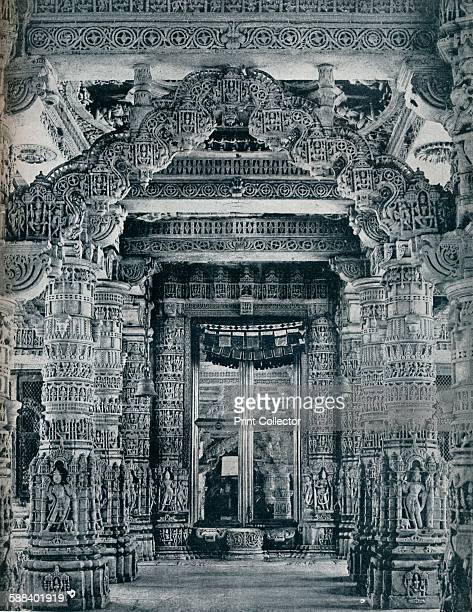 Marble Sculpture at an entrance to a Jain Temple at Dilwara, Mount Abu', circa 1941. The Dilwara temples, Rajasthan a collection of 5 Jain temples...