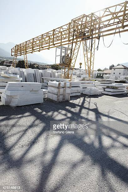 Marble slabs stacked outside