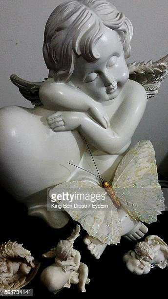 marble statue of cherubs - cherub stock photos and pictures