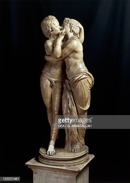 Marble statue of Cupid and Psyche after a Greek original .
