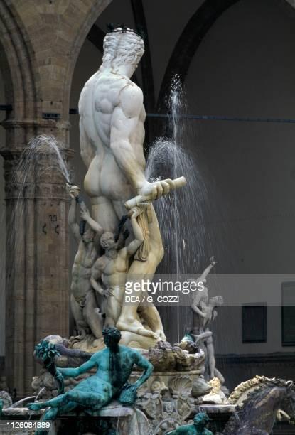 Marble statue of Neptune, by Bartolomeo Ammannati, Fountain of Neptune, Piazza della Signoria, Florence , Tuscany, Italy, 16th century.