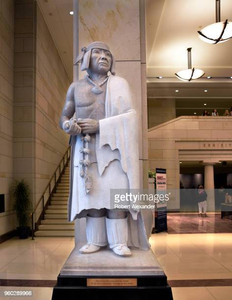 A marble statue of Po'pay by native American artist Cliff Fragua stands in the US Capitol Visitor Center in Washington DC Po'pay was born circa 1630...