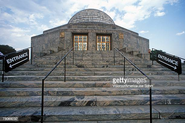 'Marble steps lead up to the Adler Planetarium & Astronomy Museum in Chicago, Illinois'