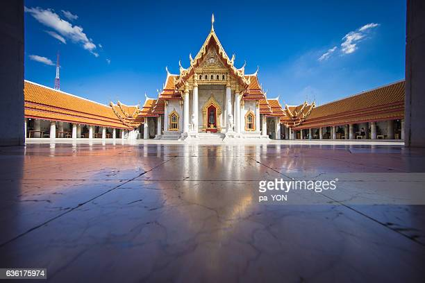 marble temple, bangkok, thailand - wat benchamabophit stock photos and pictures