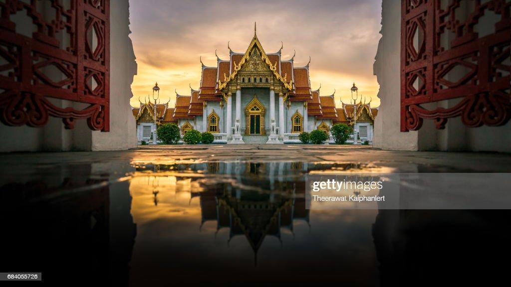 Marble temple (Wat Benchamabophit) in reflection, Bangkok : Stock Photo