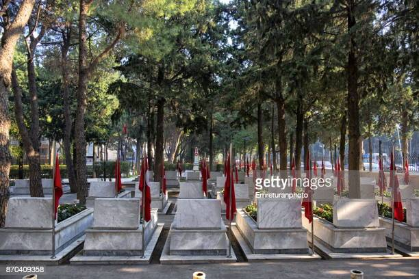 marble tombstones in manisa military cemetery. - emreturanphoto stock pictures, royalty-free photos & images