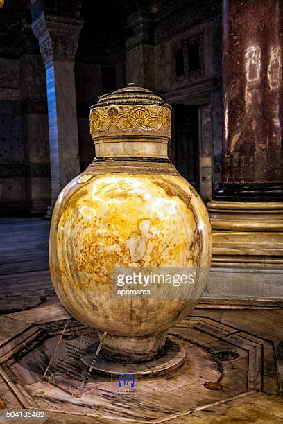 marble water jar in hagia sophia museum in istanbul, turkey. - bergama stock pictures, royalty-free photos & images