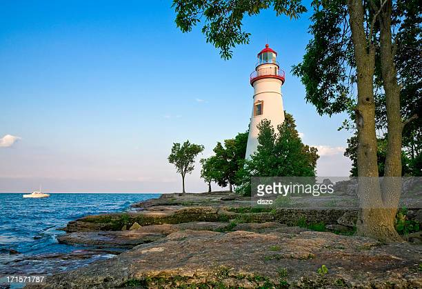 marblehead lighthouse - lake erie, ohio - ohio stock photos and pictures