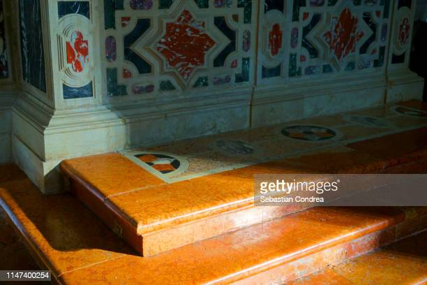 marbles stairs of the altar in the morning sunlight,koper, slovenia - clocks go forward stock pictures, royalty-free photos & images