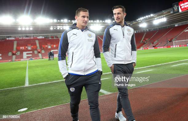 Marc Albrighton and Ben Chilwell of Leicester City ahead of the Premier League match between Southampton and Leicester City at St Mary's Stadium on...