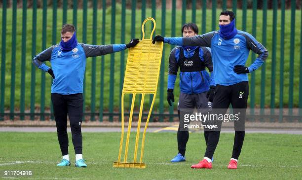 Marc Albrighton and Vicente Iborra during the Leicester City training session at Belvoir Drive Training Complex on January 29th 2018 in Leicester...
