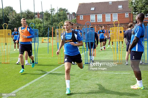 Marc Albrighton during the Leicester City Training and Press Conference at Belvoir Drive Training Complex on August 05 2016 in Leicester United...