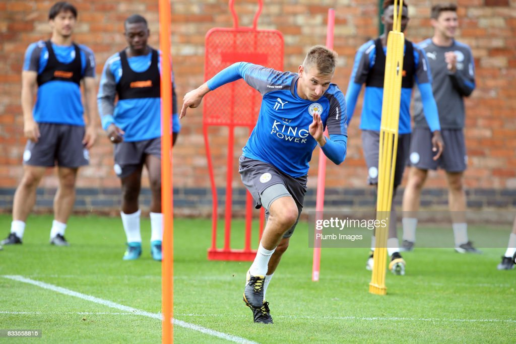 Marc Albrighton during the Leicester City training session at Belvoir Drive Training Complex on August 17 , 2017 in Leicester, United Kingdom.