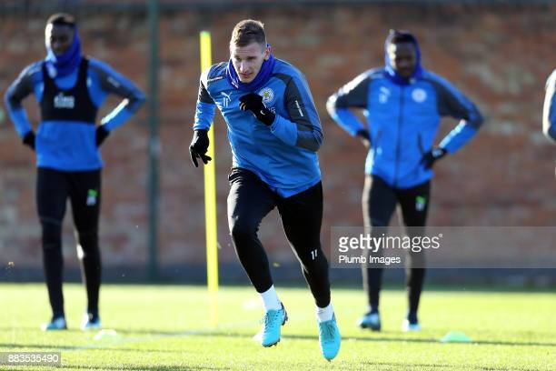 Marc Albrighton during the Leicester City training session at Belvoir Drive Training Complex on December 01 2017 in Leicester United Kingdom