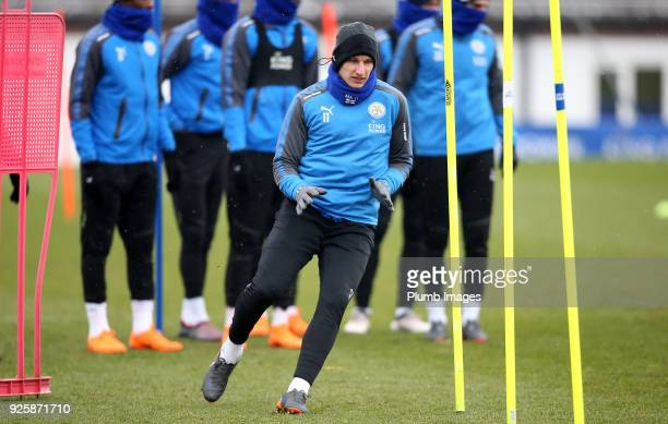 Marc Albrighton during the Leicester City training session at Belvoir Drive Training Complex on March 01 2018 in Leicester United Kingdom