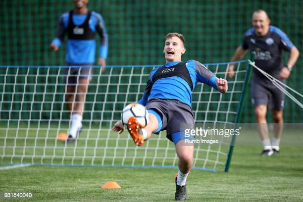 Marc Albrighton during the Leicester City training session at the Marbella Soccer Camp Complex on March 13 2018 in Marbella Spain