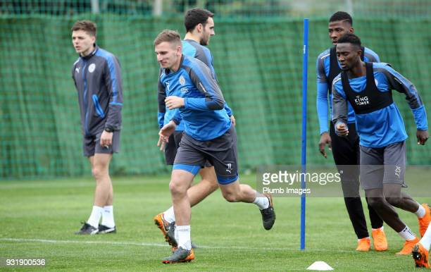 Marc Albrighton during the Leicester City training session at the Marbella Soccer Camp Complex on March 14 2018 in Marbella Spain