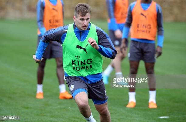 Marc Albrighton during the Leicester City training session at the Marbella Soccer Camp Complex on March 15 2018 in Marbella Spain