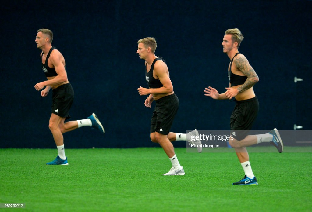 Marc Albrighton during training as Leicester City Players Return to Pre-Season Training at Belvoir Drive Training Complex on July 02 , 2018 in Leicester, United Kingdom.