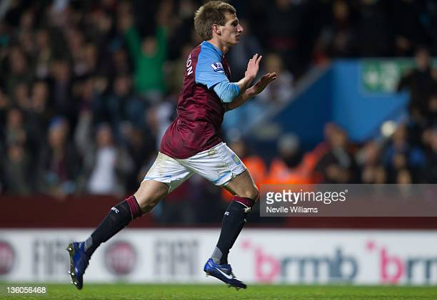 Marc Albrighton of Aston Villa celebrates after scoring the 2000th goal of the Premier League during the Barclays Premier League match between Aston...